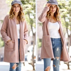 NATALIA Long Sleeve Boucle Jacket - MAUVE